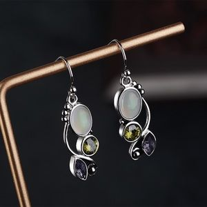 Jewelry - Antiqued Silver Iridescent Gem Earrings